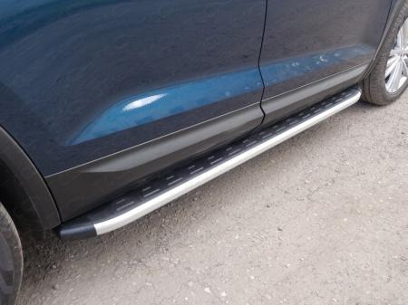 Skoda Kodiaq 2017-Пороги алюминиевые с пластиковой накладкой 1820 мм